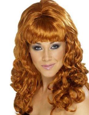 Ladies 60s Beehive Beauty Fancy Dress Wig Auburn